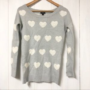 Express Light Blue Knit Sweater with White Hearts